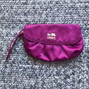 Coach purple satin clutch